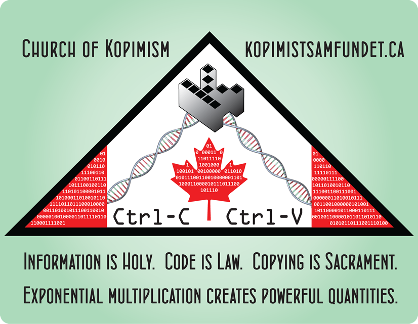Information is Holy.Code is law.Copying is Sacrament.Exponential multiplication creates powerful quantities.